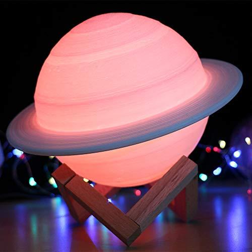Wovatech Saturn 3D Optische Täuschungslampe, 3D-Druck wie Mondlampe Nachtlicht 16 Farben Fernbedienung & Touch-Steuerung, wiederaufladbares tragbares USB-Nachtlicht