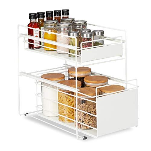 Relaxdays Estantería con 2 cestas, organizador de armario de cocina y baño, cesta extraíble, altura 39,5 x 25 x 40,5 cm, color blanco