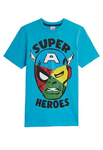 Marvel Ragazzi t-Shirt Avengers t-Shirt con Iron Man Capitan America Incredible Hulk e Spider Man, 100% Cotone Abbigliamento Ragazzo, Merchandise Ufficiale Regalo per Ragazzi Ragazzi Blu 7-8 Anni