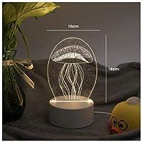 3Dイリュージョンナイトライト 蛍光クラゲ キッズ3D目の錯覚7色LEDナイトライトボーイキッズおもちゃベビースリープデスクランプ寝室の装飾誕生日クリスマスクリエイティビティギフト