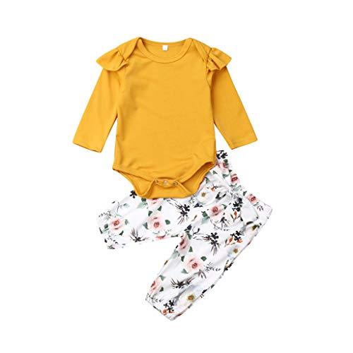 Mamum Infantile bébé Boys&Girls Volants Combinaison Barboteuse+Pantalon imprimé Floral Tenues