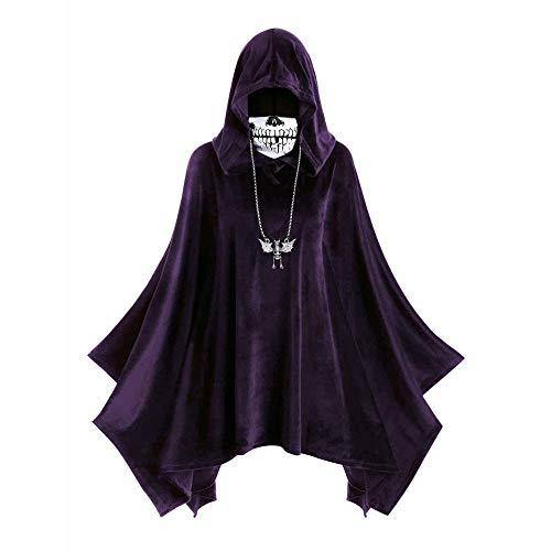GIAO Capa de terciopelo de Halloween con capucha y capa de cráneo para mujer (color morado, tamaño: XXL)
