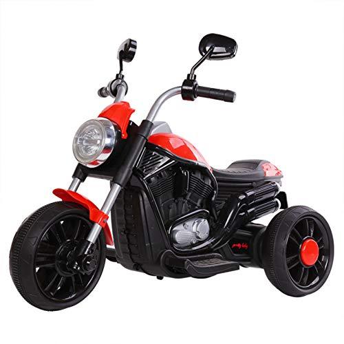 St.mary per Bambini Elettrico a Tre Ruote Moto 2-7 Anni Maschio e Femmina I Bambini Possono Cavalcare Harley con Ricaricabile e Musica,Rosso