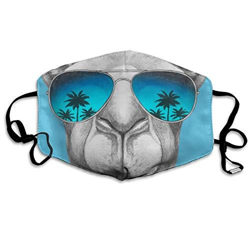 ghjkuyt412 Cubierta para la boca, divertida alpaca con gafas impresión, lavable, reutilizable, bufanda para la boca para niños y adultos