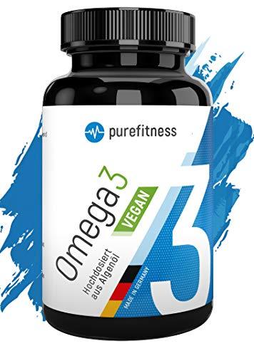 PREMIUM Omega 3 VEGAN hochdosiert mit 2502mg Tagesdosis I 60 Algenöl Kapseln I Reines Algenöl I Pflanzl. I DHA EPA Vegan I Essentielle Fettsäuren