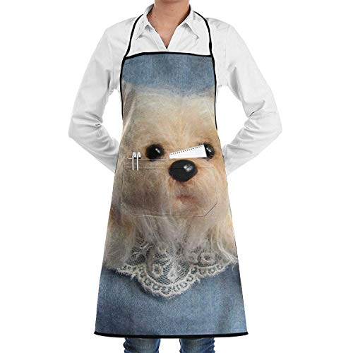 Shiney Day Jeans with Cute Puppy Aprons Bib for Mens Womens Work String Adjustable Adult Kitchen Waiter Aprons with Pockets