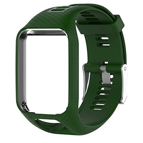 Für Tom Tom Armband, Keweni Ersatz Silikon Uhrenarmband Armband Sport Armband für Tomtom Runner 3 / Spark (Armeegrün)