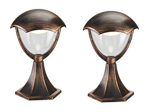 2er Set LED Wegeleuchte Sockelleuchte GRACHT rostfarbig antik, 31 cm, Außenlampe, Trio Leuchten