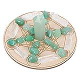 Minkissy Piedras de Cristal Curativas Rejillas de Cristal de Chakra con Estrella de Madera Péndulo Placa de Divinación Chakra Reiki Cristales de Energía para Yoga Meditación Chakra Terapia