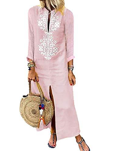 Hahaemma - Vestido para mujer de manga larga, estilo retro, de lino, de algodón, desenfadado, vestido largo de verano, ancho y elegante Pi-2 S