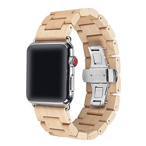 AIYIBEN Watch Band 42mm Banda Bracciale Cinturino in Acciaio Inox Clap con collegamenti Regolabile per iwatch Serie 1/2/3 Sport & Edition.(Maple)