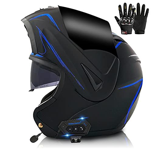 ZPTTBD Casco De Moto Modular Bluetooth Integrado, ECE Homologado, con Doble Visera Cascos De Motocicleta, Transpirable Y Cómodo, para Adultos, Mujeres Y Hombres (Color : F, Size : (XS/53-54CM))