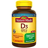 Vitamin D3, 400 Tablets Mega Size, Vitamin D 2000 IU (50 mcg) Helps Support Immune Health, Strong Bones and Teeth, & Muscle Function, 250% of Daily Value for Vitamin D in One Daily Tablet