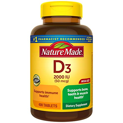 Nature Made Vitamin D3, 400 Tablets Mega Size, Vitamin D 2000 IU (50 mcg) Helps Support Immune Health, Strong Bones and Teeth, & Muscle Function, 250% of Daily Value for Vitamin D in One Daily Tablet