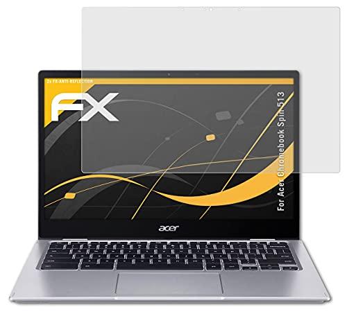 atFolix Panzerfolie kompatibel mit Acer Chromebook Spin 513 Schutzfolie, entspiegelnde & stoßdämpfende FX Folie (2X)