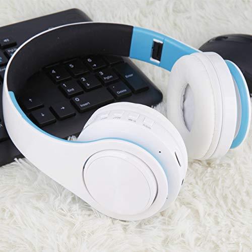 Auricular inalámbrico plegable Bluetooth enchufe en la tarjeta deportes música FM auriculares universales, azul blanco