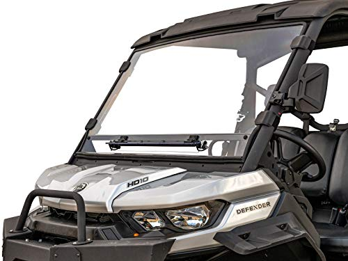 SuperATV Scratch Resistant Flip-Vent Windshield for 2016+ Can Am Defender HD5 / HD8 / HD10 / MAX | Hard Coated for Extreme Durability | Easy to Install!