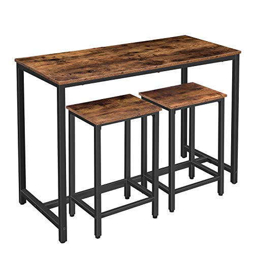 "HOOBRO Bar Table Set, 47.2"" Rectangular Kitchen Pub Dining Coffee Table and 2 Bar Stools, 3-Piece Breakfast Table Set for Kitchen Living Room, Dining Room, Sturdy Metal Frame, Rustic Brown BF52BT01"