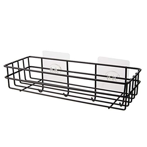 WSFANG Repisa Hierro de baño Almacenamiento Metal Punch-Free Shelf Ducha Montado en la Pared Cesta de succión Organizador Cocina Casa Esquina Colgante Racks Baño, Dormitorio, Cocina, salón, etc.
