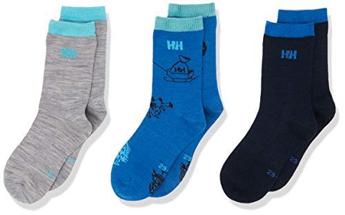 Helly Hansen Kinder Wool Socken, Navy/Sonic/Grey, 26-28