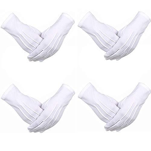 4 Pares de Guantes de Disfraz de Desfile Blanco, Guantes Para la Policía Guardia de Honor Formal de Esmoquin y Ocasiones Especiales (Diseño de 3 Costuras)