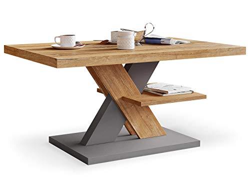 Couchtisch mit Struktur und Retro & Grau, Wohnzimmer Sofatisch Kaffeetisch, Modern Möbel Wohnzimmer, Sofa Tisch, Coffee Table for Living Room, Moderner Wohnzimmertisch