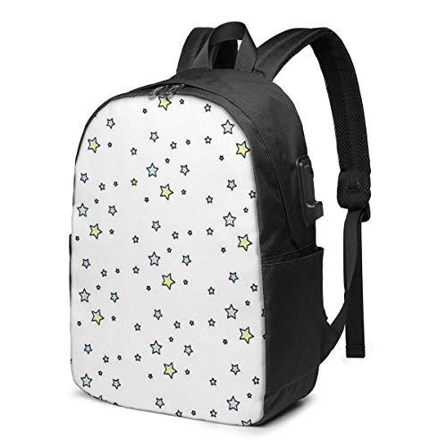 Hdadwy Tie Dye Star Pack USB School Backpack Large Capacity Canvas Satchel Casual Travel Daypack for Adult Teen Women Men 17in