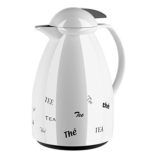 Emsa 501528 Isolierkanne, Für Kaffee oder Tee, 1 Liter, Quick Tip Verschluss, Weiß/Tea, Tango