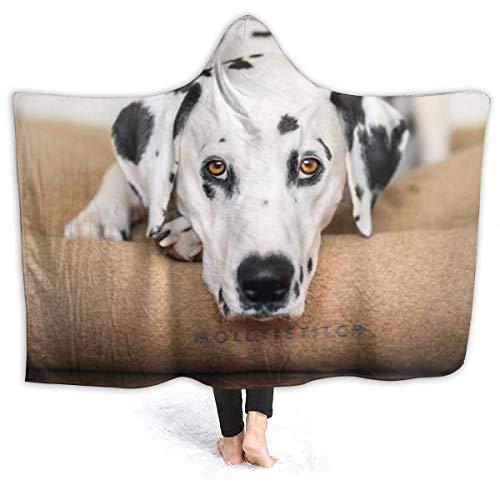 "XNLHQH IJ Hooded Blanket, Wearable Hood Throw Blankets Wrap,Dalmatian Snout Glance Print Soft Kids Blanket Gift Cozy Magic Cloak 50"""" by 40"