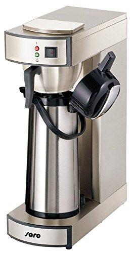 Saro Thermo Kaffeemaschine mit Korbfilter und Thermoskanne Industriekaffeemaschine mit Pumpkanne (2,2 Liter, ca. 10 Tassen Kaffee, Brüh- & Warmhaltefunktion), silber