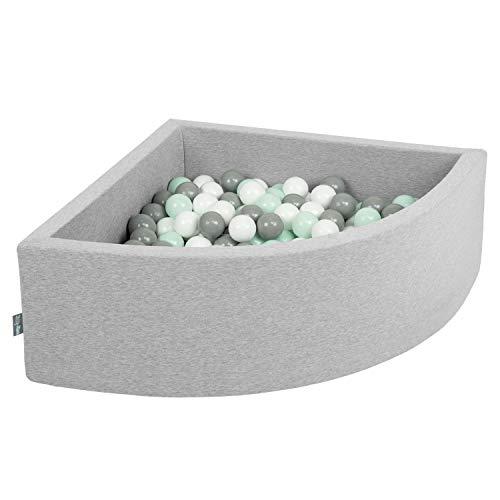 KiddyMoon 90X30cm/200 Balls Baby Foam Ball Pit With Balls ∅7Cm / 2.75In Quarter Angular Made In EU, Light Grey:White/Grey/Mint