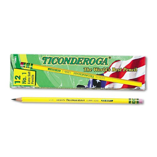 Dixon Products Dixon Ticonderoga Woodcase Pencil, B #1, Yellow Barrel, Dozen Sold As 1 Dozen Satin smooth finish. Exclusive graphite core formula. Crafted from reforested quality wood. Eraser. Nontoxic., MULTI