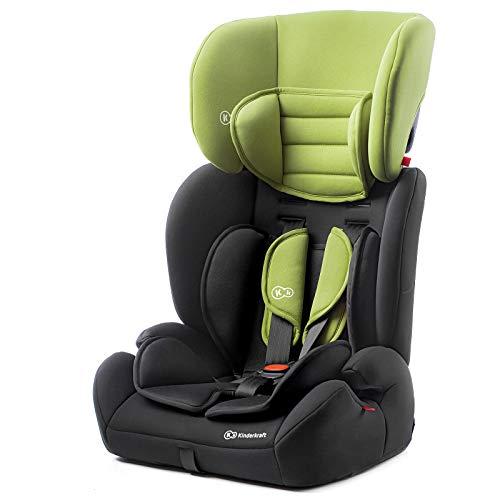 Kinderkraft Kinderautositz CONCEPT, Autokindersitz, Autositz, Kindersitz, Gruppe 1/2/3 9-36kg, 5-Punkt-Sicherheitsgurt, Einstellbare Kopfstütze, ECE R44/04, Grün