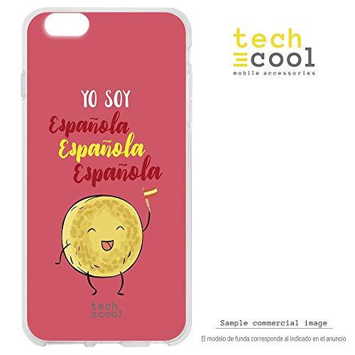 Funnytech Funda Silicona para iPhone 6 / 6S [Gel Silicona Flexible, Diseño Exclusivo] Frase Humor Tortilla española Fondo Rojo