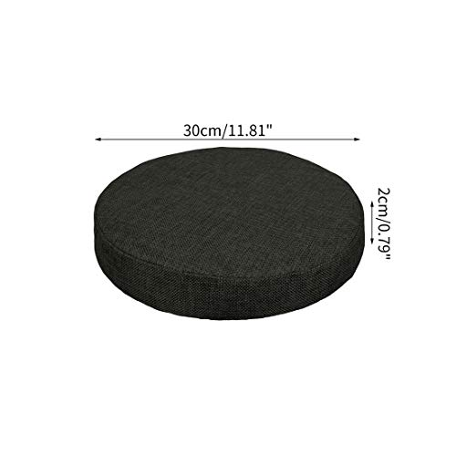 Bverionant Funda Acolchada de Taburete Redonda, Cubierta Elástico con Relleno de Esponja para Asiento de Bar Hogar Comedor Negro / 30cm