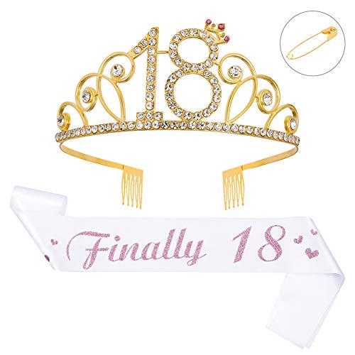 DK-tre - Cinta de satén para cumpleaños, estilo de vida saludable, diseño de corona de diamantes de imitación, accesorios de decoración para mujeres y niñas, 18 años, 30, 40 y 50 Blanco-18