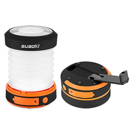 Suaoki Camping Lantern Led Light Flashlight Rechargeable Battery (Powered by Hand Crank and USB Charging) Collapsible Ultra Compact Great for Hiking Camping Tent Garden Patio etc (Orange)