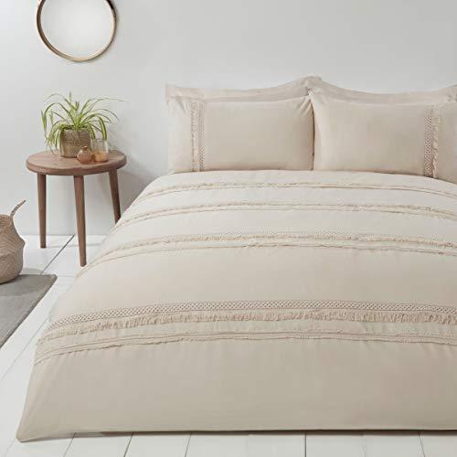 Sleepdown Delicate Tassel Natural Easy Care Duvet Cover Quilt Bedding Set with Pillowcases - King (220cm x 230cm)