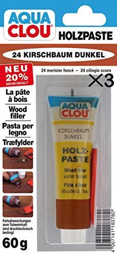 Clou Holzpaste zum Reparieren und Auskitten von Holzschäden kirschbaum dunkel, 3×60 g: gebrauchsfertige Paste geeignet für den gesamten Innenbereich