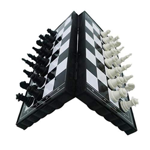 rongweiwang Juego de ajedrez Plegable de plástico Tablero de ajedrez Junta Ligera Bolsillo del Juego de ajedrez al Aire Libre casero Portable niños Juguetes