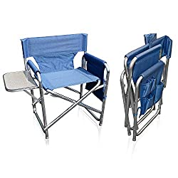 Folding Director´s Chair with attached folding table and side pockets, extremely light and portable seat, weight 3.13kg Sturdy and solid frame made of lightweight 6061 commercial grade aluminium, 25mm diameter tubes Fabric covers made of 1200 Denier ...