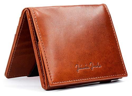 JAIMIE JACOBS Flap Boy - Das Original - Magic Wallet mit Münzfach und RFID-Schutz Magischer Geldbeutel magisches Portmonaie Brieftasche mit Kleingeldfach Herren echtes Leder (Dunkelbraun)