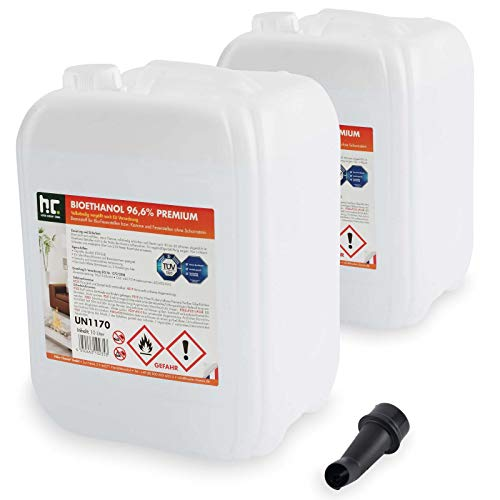 Höfer Chemie 2 x 10 L (20 Liter) Bioethanol 96,6{8dc51c93eb2438ea54688470dace8ff9efb5a690f5df735a0380f535cad4fe97} Premium - TÜV SÜD zertifizierte QUALITÄT - für Ethanol Kamin, Ethanol Feuerstelle, Ethanol Tischfeuer und Bioethanol Kamin