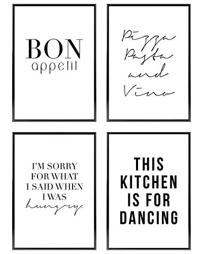Heimlich ® Premium Poster Set | Stilvolles Set mit passenden Bilder in Schwarz-Weiß | 4 Stück in DIN A4 (21x30cm) | Ohne Bilderrahmen » Küche «