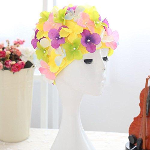 Badekappe, Greyghost Badehaube für Damen, Vintage Blumenmuster Badekappe, Floral Petal Retro Badekappe