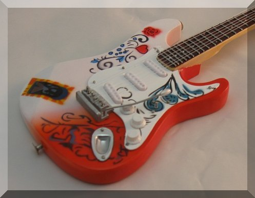 Jimi Hendrix Monterey Pop Fender Stratocaster - Guitarra en miniatura