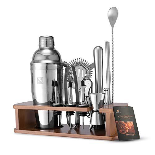 KITESSENSU Cocktail Shaker Set Barkeeper Kit mit Ständer | Bar Zubehör Drink Mixer Set zum Mixen von Getränken - Martini-Shaker, Jigger, Sieb, Mixer-Löffel, Muddler, Likör-Ausgießer, mehr | Silber