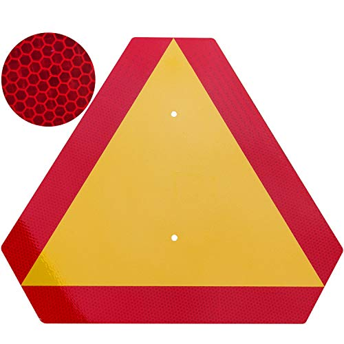 Orange Slow Moving Vehicle Sign,Triangle Sign,SMV sign 14'x16'Aluminum Diamond Grade Reflective,Up to 7 Years of Outdoor use for Golf Cart