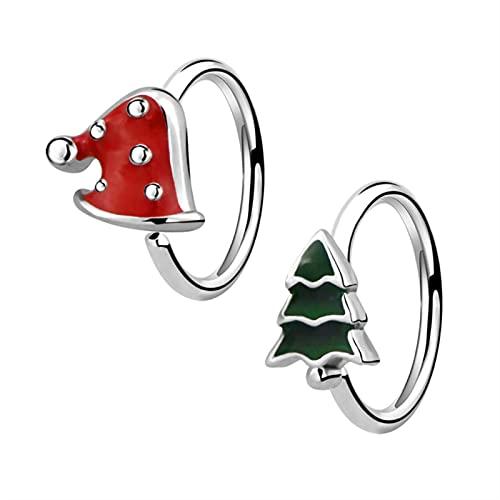 2 Unids/Set Aro De Nariz Lindo Árbol De Navidad/Anillos De Sombrero Pendiente De Perforación Corporal