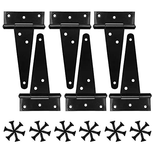 6 Piezas Bisagras para Puertas, Bisagra Forma en T, Bisagra en T de Acero Inoxidable, Visagras para Puerta de Madera, Negro Bisagras para Puertas (4 pulgadas)